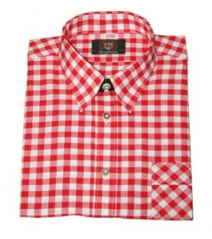 Freizeithemd Wanderhemd Trachtenhemd von OS Trachten Hemd rot/weiß Oktoberfest