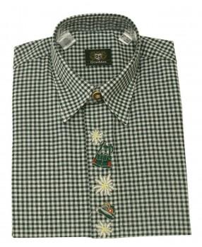 Trachtenhemd grün/weiß minikaro Hemd Kinderhemd grün/weiß 110/116