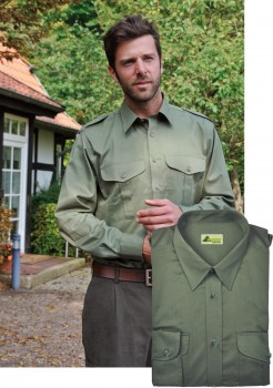 Jagdhemd Freizeithemd Hemd + Schulterklappen Garbardin oliv von SKOGEN
