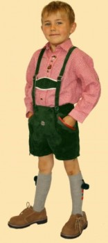 1021g- Kurze grüne bestickte Trachten-Lederhose aus Rindkernveloursleder Größe 128