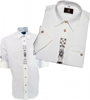 Trachtenhemd Hemd mit Applikationen + bestickt 1/1 Arm Oktoberfest OS-TRACHTEN