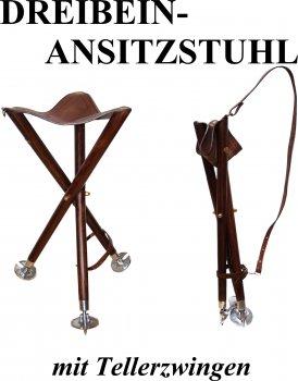 50304 - Ansitzstuhl Dreibein Trioled Ledersitz Angeln, Jagen, Camping, Outdoor