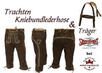 Justin- Trachten-Kniebundlederhose mit Trachten- Stegräger in urigantik Größe 44